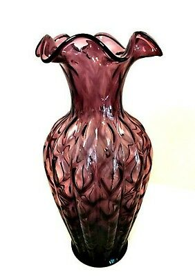 Fenton Amethyst Melon Vase Purple Ribbed Ruffle Top Art Glass 11 inches Tall