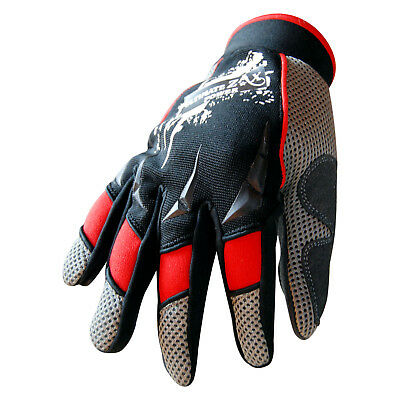 Mechanics Gloves Work Safety Tradesman Worker Farmer Gloves Ventilated Red