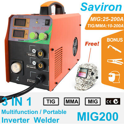 200A MIG TIG MMA Welder Flux Core Wire Automatic Feed Welding Machine Free Mask
