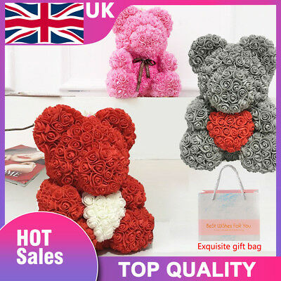 40CM Teddy Bear Lovely Big Red Rose Flower Bear Toys Grey Pink Valentine'S Gifts