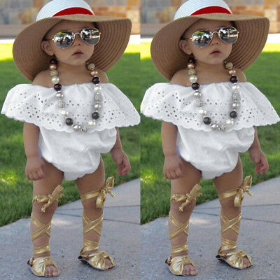 Cute Newborn Toddler Baby Girl Clothes Lace Romper Bodysuit Outfits Sunsuit