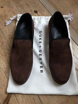 Duke and Dexter Handmade Mens Brown Suede Loafers, Size 13