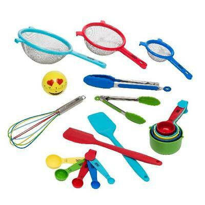 19 Piece Kitchen Utensil and Gadget Set Emoji Timer Whisk Assorted Colors New