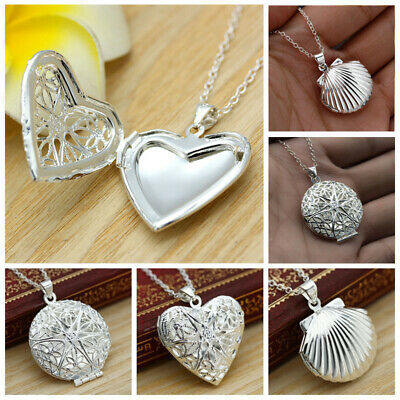 """Wholesale 925 Sterling Silver Heart Necklace, Locket Photo Pendant 18"""""""