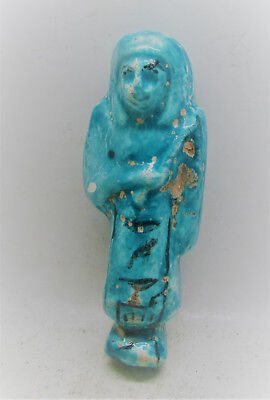 Beautiful Ancient Glazed Faience Ushabti Shabti With Heiroglyphics