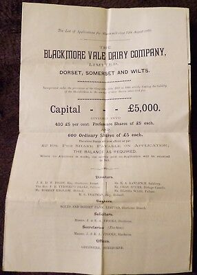 Document for Shares in Blackmore Vale Dairy, Dorset, Somerset and Wilt, 1890