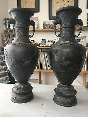 Paire De Grands Vases En Bronze Decors Art Asiatique