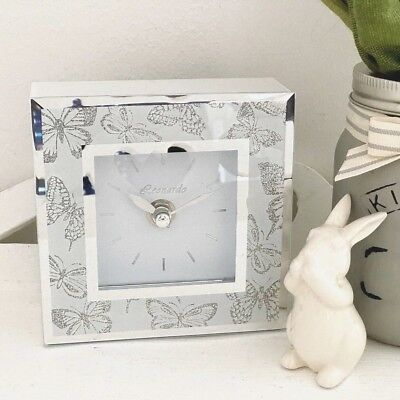 Square White Mirror Glass Silver Glitter Butterfly Mantel Bed Side Clock Gift