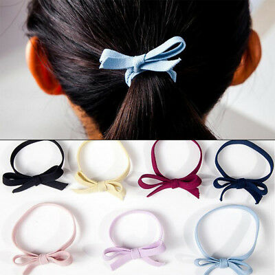 5pcs Multicolor Bowknot Elastic Rubber Rope Women Hairband Bow Tie Hair Bands