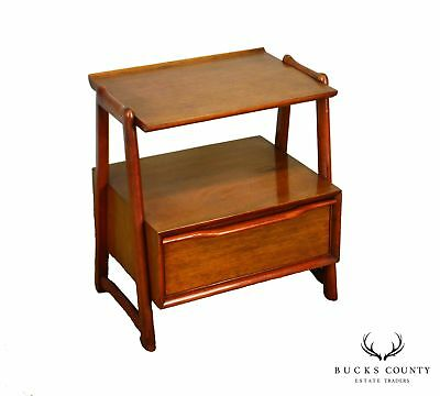 Mid Century Modern Mahogany 2 Tier Nightstand by Hickory
