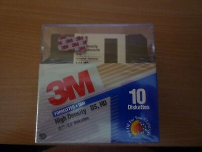"""5 packets of 3M Formatted DS DD Diskettes Box of 10 3.5"""" Floppy Factory Sealed"""