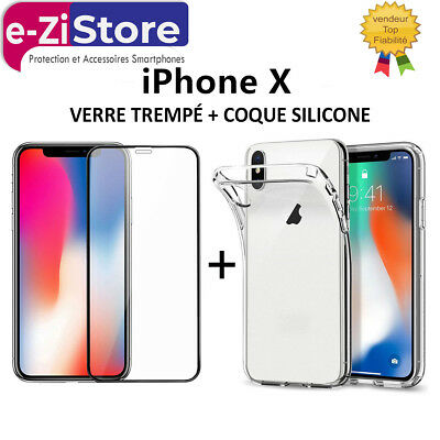 Verre Trempé Film Protection Écran + Coque Silicone Iphone X Xr Xs Max 8 7 6 5 +