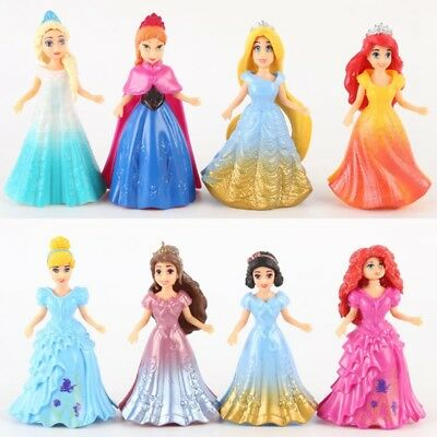 8PCS DIY Changed Dress Disney Princess Magiclip Action Figures Doll Kid Girl Toy
