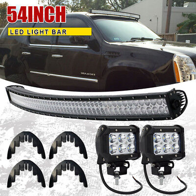 54inch 700W LED Light Bar Curved Flood Spot Roof Driving Truck 4x4 SUV 52''