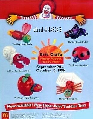 1996 McDonalds Eric Carle Finger Puppets MIP Complete Set of 6, Boys & Girls, 3+