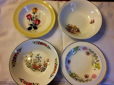 4 Pretty Vintage Mis-Matched China Fruit/Dessert/Cereal Bowls/Dishes