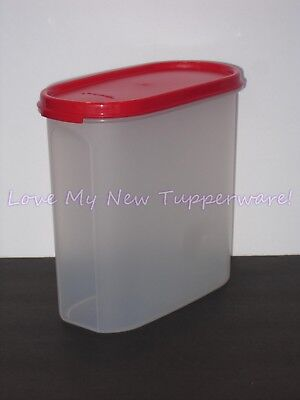 Tupperware oval 4 Modular mate red clear storage container organize 9.75 cup NEW