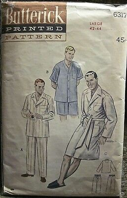 Vintage Butterick Mens' Pajamas 2 Length Sleeves & Pants & Robe Pattern Sz Lg