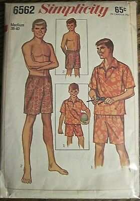 "Vintage 1966 Simplicity Men's Casual Shirt and Swim Shorts Pattern Chest 38""-40"""