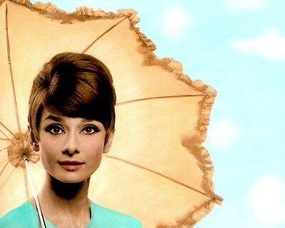 "AUDREY HEPBURN HOLLYWOOD ACTRESS MOVIE STAR 8x10"" HAND COLOR TINTED PHOTOGRAPH"