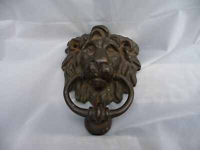 Vintage Brass Small Lion Face Door Knocker Architectural Fitting Nice Detail