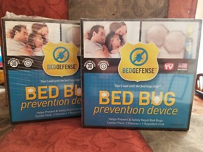 (2) BED BUG PREVENTION DEVICE BED DEFENSE 4 DEVICES + 2 REPELLENT MIST #k63