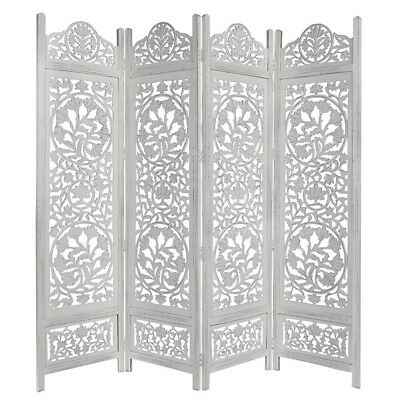 Handcrafted Wooden 4 Panel Room Divider Screen Featuring Lotus Pattern-Reversibl