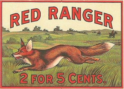 Antique Red Ranger Fox Cigar Label T Shirt Small-Xxxlarge (F)