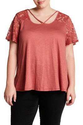 8c043468405 NEW  44 BLU Pepper Lace Coral Tee Plus Size 3X Orange Pink -  10.00 ...