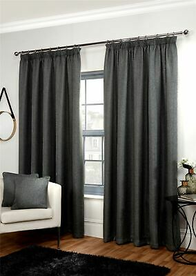 "Luxury Woven Basket Weave Thermal Blackout 3"" Pencil Pleat Lined Pair Curtains"
