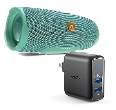 JBL Charge 4 Teal Portable Bluetooth Speaker w/Anker Wall Charger