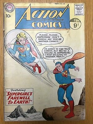 Action Comics 258 DC Early Supergirl Appearance 10 Cent Silver Age Good Superman
