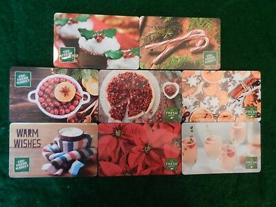 Lot Of Eight (8) All Different Collectible Only *fresh Market* Gift Cards