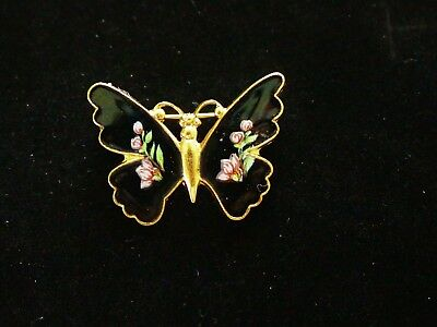 BROOCH vintage, original butterfly with floral pattern on the wings