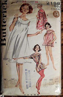 Vintage Butterick Lingerie Nightgown Robe & Pants 2 Lengths Pattern Sz 14
