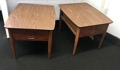 Pair of Mid Century Danish Modern Lane Walnut Night Stand End Tables