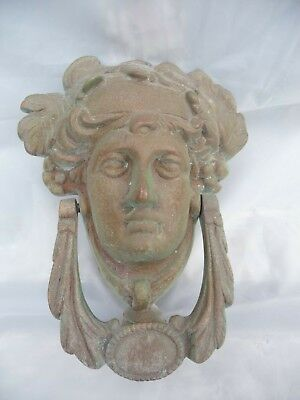 "Antique Large Brass Door Knocker Greek God ""Appollo"" Great Architectural Detail"