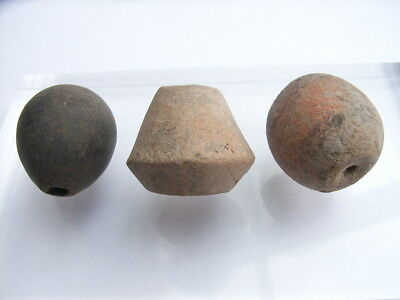 3 Ancient Neolithic Clay Beads, Stone Age, VERY RARE !!  TOP !!