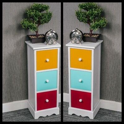 White Pair Of Wooden Bedside Table Unit Cabinet 3 Drawers Nightstand Hallway New