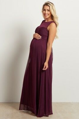 abcde544d3530 Pink Blush Maternity Purple Mesh Neckline Ruched Bust Evening Gown Size  Medium