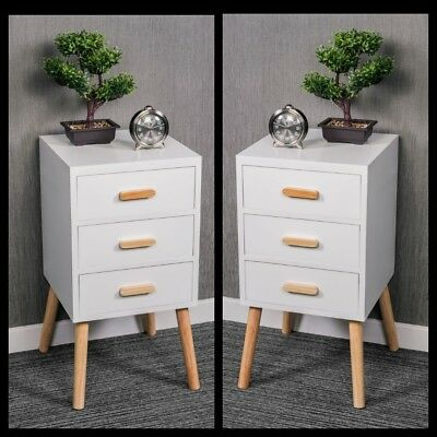 Pair Of White Bedside Table Cabinet Nightstand Storage 3 Drawer Bedroom Corner