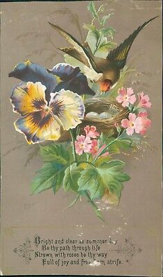 VICTORIAN GREETINGS CARD -  swallow with nest and floral garland 1886