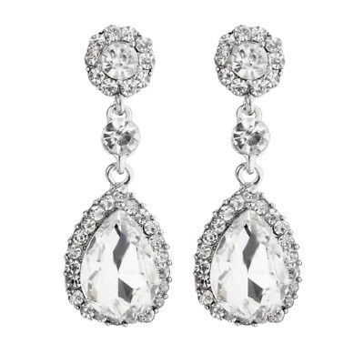 Women Diamante Teardrop Dangle Crystal Earrings for Wedding Party Clear