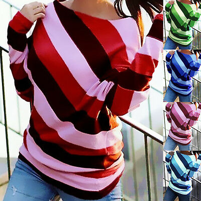 Women Ladies Striped Cotton Long Sleeve Casual Blouse T-Shirt Tops Tee Plus Size