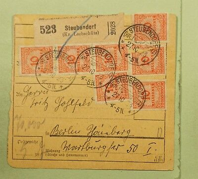 DR WHO 1923 GERMANY STRIP STEUBENDORF REGISTERED RECEIPT CARD TO BELRIN  d80234