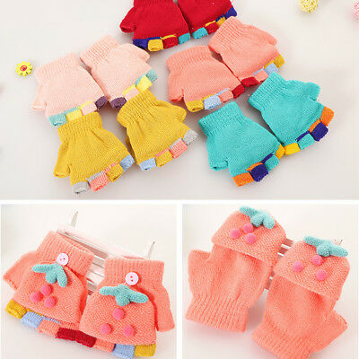 LX_ FM- Baby Boy Girl Pompom Flip Top Fingerless Gloves Outdoor Winter Mittens