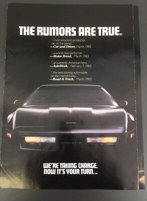"""1983 Corvette Multipanel Fold-Out Advertising Insert """"The Rumors Are True"""" Nice!"""