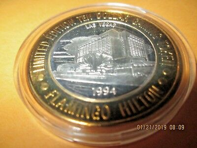 FLAMINGO    NEW 1994  Casino Silver Strike  $10 .999  SILVER, MINT,CT