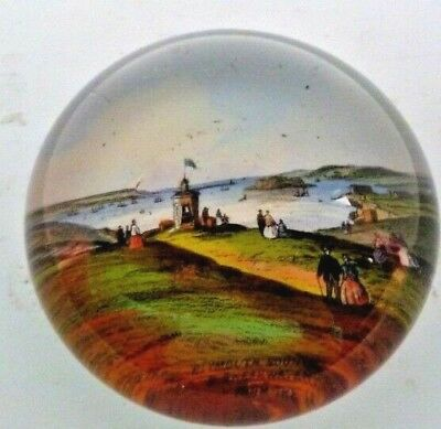 Antique Victorian Glass Paperweight Of Plymouth Sound & Breakwater From The Hoe