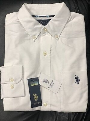 09d6a07b U.S. Polo ASSN. Men's Classic Fit Long Sleeve Solid White Oxford Shirt NWT